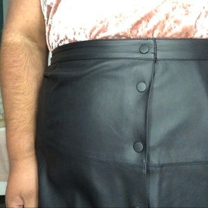 Faux Leather Button-up Skirt